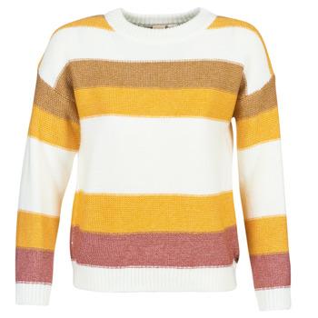 Textil Mulher camisolas Roxy TRIP FOR TWO STRIPE Branco / Amarelo