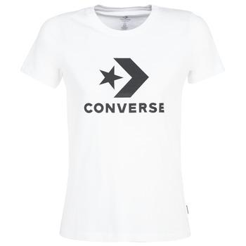 Textil Mulher T-Shirt mangas curtas Converse STAR CHEVRON Branco