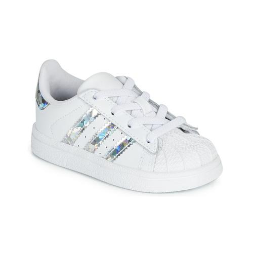Sapatos Rapariga Sapatilhas adidas Originals SUPERSTAR EL I Branco / Prata