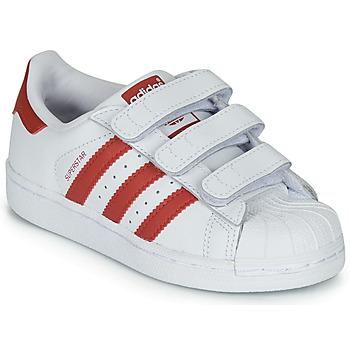 Sapatos Criança Sapatilhas adidas Originals SUPERSTAR CF C Branco / Vermelho