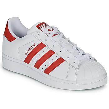 Sapatos Criança Sapatilhas adidas Originals SUPERSTAR J Branco / Vermelho