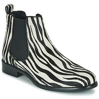 Sapatos Mulher Botas baixas Betty London HUGUETTE Preto / Branco / Zebra