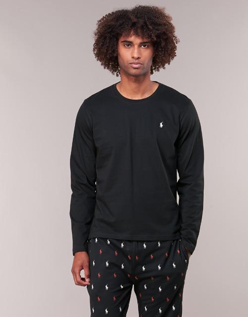 Textil Homem T-shirt mangas compridas Polo Ralph Lauren L/S CREW-CREW-SLEEP TOP Preto