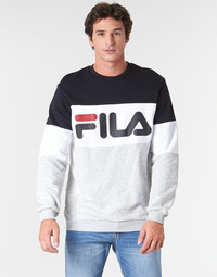 Textil Homem Sweats Fila STRAIGHT BLOCKED CREW Cinza / Preto
