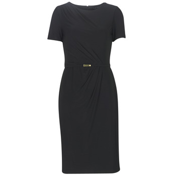 Textil Mulher Vestidos compridos Lauren Ralph Lauren BELTED SHORT SLEEVE DRESS Preto