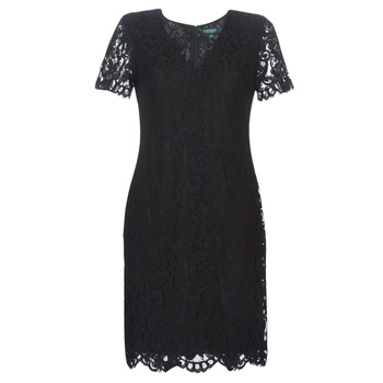 Textil Mulher Vestidos curtos Lauren Ralph Lauren SCALLOPED LACE DRESS Preto