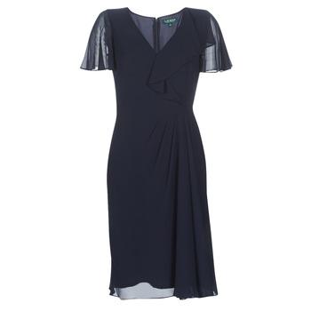 Textil Mulher Vestidos compridos Lauren Ralph Lauren CUTLER CAP SLEEVE DAY DRESS Marinho
