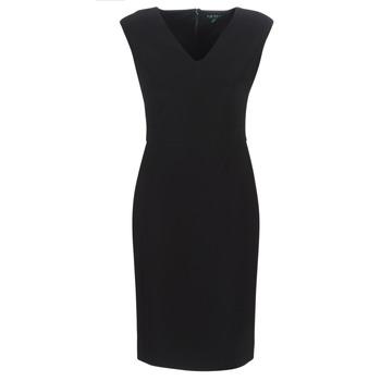 Textil Mulher Vestidos compridos Lauren Ralph Lauren BLACK CAP SLEEVE DAY DRESS Preto