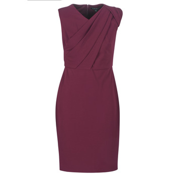 Textil Mulher Vestidos compridos Lauren Ralph Lauren RUBY SLEEVELESS DAY DRESS Bordô