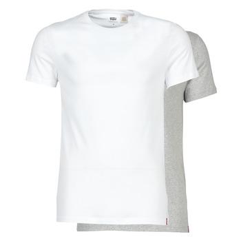 Textil Homem T-Shirt mangas curtas Levi's SLIM 2PK CREWNECK 1 Branco / Cinza