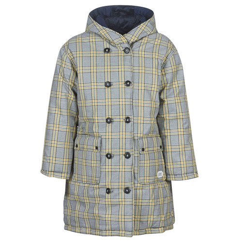 Textil Mulher Quispos Maison Scotch REVERSIBLE DOUBLE BREASTED JACKET IN CHECK AND SOLID Marinho