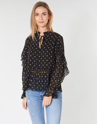 Textil Mulher Tops / Blusas Maison Scotch SHEER PRINTED TOP WITH RUFFLES Preto