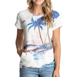 Textil Mulher T-Shirt mangas curtas Roxy Gone Going Printed Branco