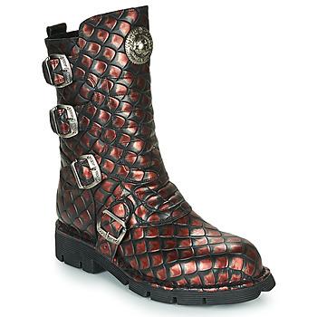 Sapatos Mulher Botas baixas New Rock  Preto / Vermelho
