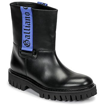 Sapatos Homem Botas baixas John Galliano 8560 Preto / Azul