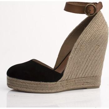 Sapatos Mulher Sandálias Mtbali Sandalia Alpargata con cuña, Mujer - Modelo Altea Noir negro