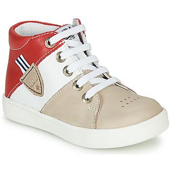 Sapatos Rapaz Sapatilhas de cano-alto GBB AMOS Bege / Branco / Vermelho