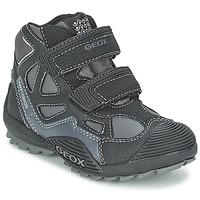 Sapatos Rapaz Sapatilhas de cano-alto Geox SAVAGE B Preto / Cinza