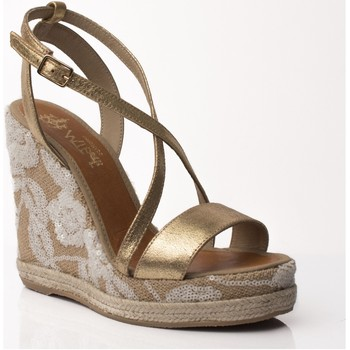 Sapatos Mulher Sandálias Mtbali Sandalia Alpargata con cuña, Mujer - Modelo Alicante oro