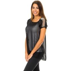 Textil Mulher Tops / Blusas Met Blusa de Manga Corta Preto