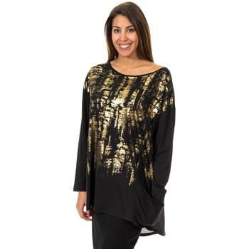 Textil Mulher Túnicas Met Camiseta manga larga Preto