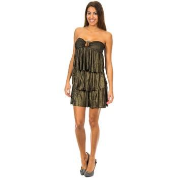 Textil Mulher Vestidos curtos Met Vestido con Volantes Preto