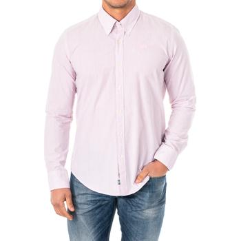 Textil Homem Camisas mangas comprida La Martina Camisa M/Larga Rosa