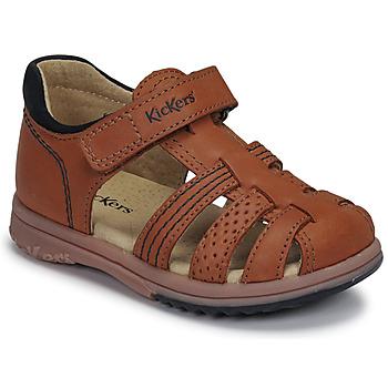 Sapatos Rapaz Sandálias Kickers PLATIBACK Castanho