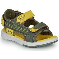 Sapatos Rapaz Sandálias Kickers PLANE Cáqui / Amarelo