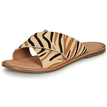 Sapatos Mulher Chinelos Kickers DIAZ-2 Bege / Preto / Castanho