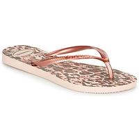Sapatos Mulher Chinelos Havaianas SLIM ANIMALS Rosa / Ouro