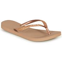 Sapatos Mulher Chinelos Havaianas SLIM GLITTER Rosa / Ouro