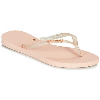 Sapatos Mulher Chinelos Havaianas SLIM LOGO METALLIC Rosa