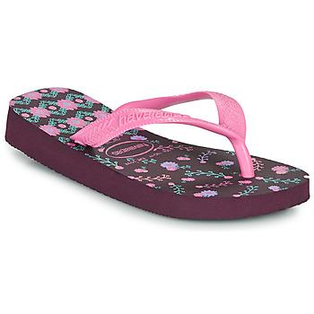 Sapatos Rapariga Chinelos Havaianas KIDS FLORES Beringela