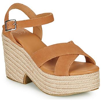 Sapatos Mulher Sandálias Superdry HIGH ESPADRILLE SANDAL Conhaque