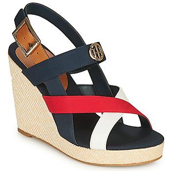 Sapatos Mulher Sandálias Tommy Hilfiger BASIC HARDWARE HIGH WEDGE SANDAL Azul / Branco / Vermelho