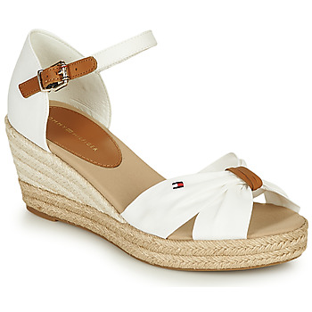 Sapatos Mulher Sandálias Tommy Hilfiger BASIC OPENED TOE MID WEDGE Branco