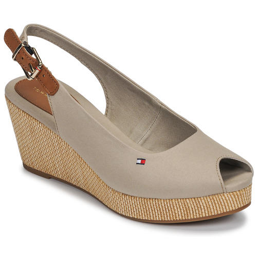 Sapatos Mulher Sandálias Tommy Hilfiger ICONIC ELBA SLING BACK WEDGE Toupeira