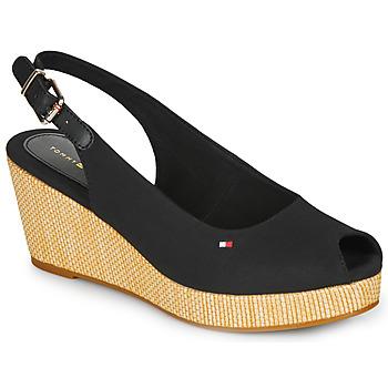 Sapatos Mulher Sandálias Tommy Hilfiger ICONIC ELBA SLING BACK WEDGE Preto