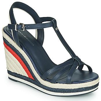 Sapatos Mulher Sandálias Tommy Hilfiger TOMMY STRAPPY HIGH WEDGE Azul