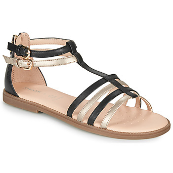 Sapatos Rapariga Sandálias Geox SANDAL KARLY GIRL Preto / Ouro