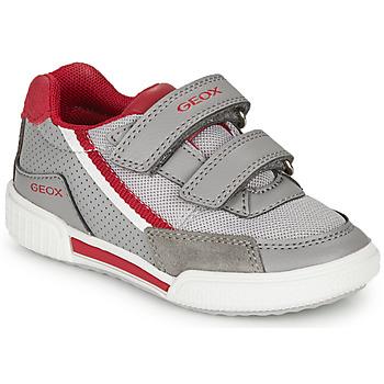 Sapatos Rapaz Sapatilhas Geox J POSEIDO BOY Cinza / Vermelho