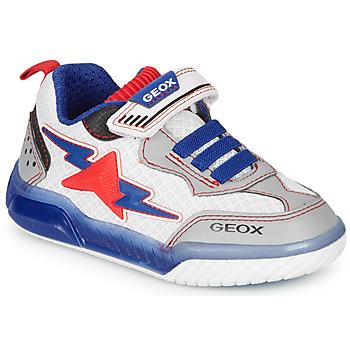 Sapatos Rapaz Sapatilhas Geox J INEK BOY Branco / Azul / Vermelho