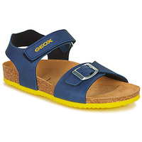 Sapatos Rapaz Sandálias Geox J GHITA BOY Azul / Amarelo