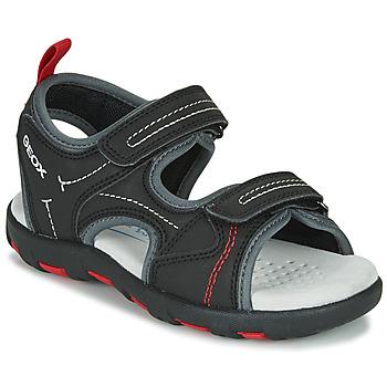 Sapatos Rapaz Sandálias desportivas Geox JR SANDAL PIANETA Preto / Vermelho