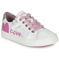 Sapatos Rapariga Sapatilhas Geox J GISLI GIRL Branco / Rosa / Prateado