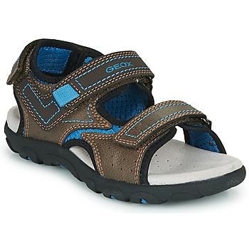 Sapatos Rapaz Sandálias desportivas Geox JR SANDAL STRADA Castanho / Azul