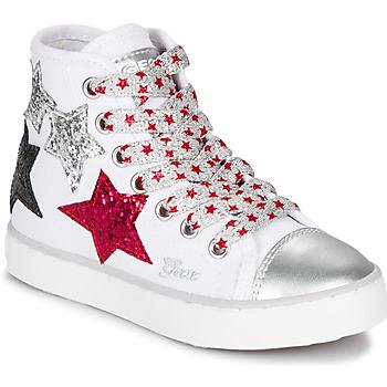 Sapatos Rapariga Sapatilhas de cano-alto Geox JR CIAK GIRL Branco / Vermelho / Preto
