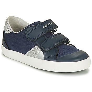 Sapatos Rapariga Sapatilhas Geox B GISLI GIRL Marinho / Prateado