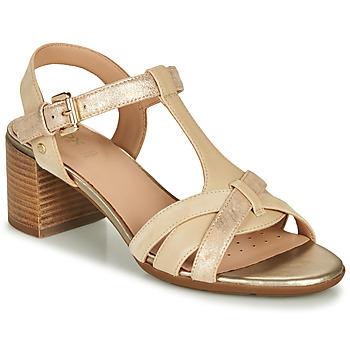 Sapatos Mulher Sandálias Geox D MARYKARMEN MID SAN Bege / Ouro